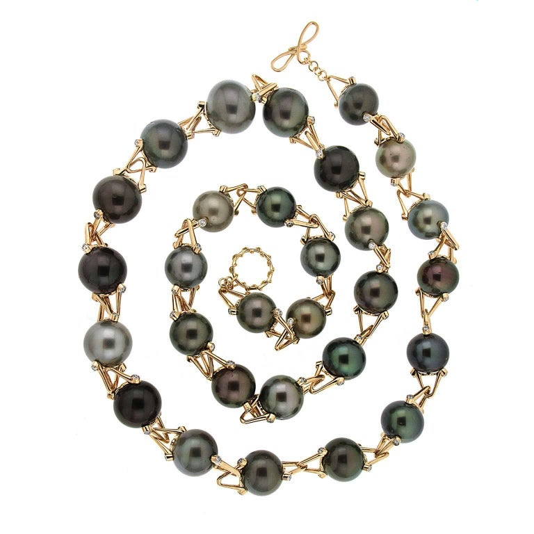 Valentin Magro Multi-Color Tahitian and Golden Pearl Necklace For ...