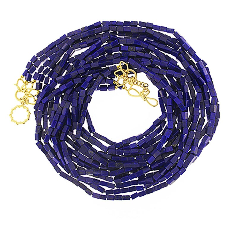 Valentin Magro Five-Strand Lapis Cube Necklace