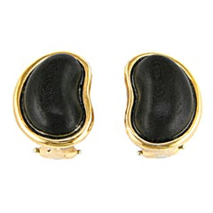 Valentin Magro Special Cut Wood Bean Gold Earrings