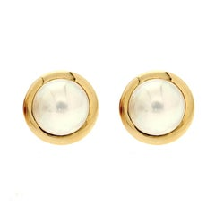 Valentin Magro Round Mabe Pearl Earrings with Gold Rims