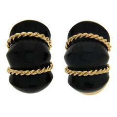 Valentin Magro Onyx Gold Twisted Rope Shrimp Earrings