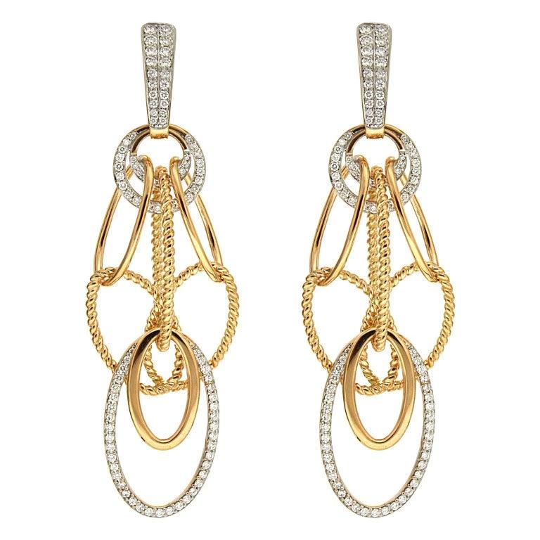 Valentin Magro Oval Cascading Diamond Chandelier Earrings