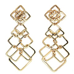 Valentin Magro Small Version Gold Cushion Link Interlocking Dangle Earrings