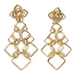 Large Gold Cushion Link Interlocking Dangle Earrings