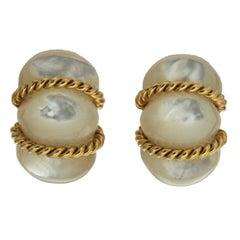 Valentin Magro Mother-of-Pearl Gold Shrimp Earrings