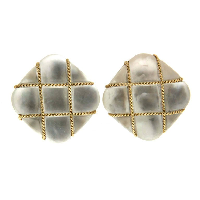 Valentin Magro Tic Toc Crystal and Mother of Pearl Earrings