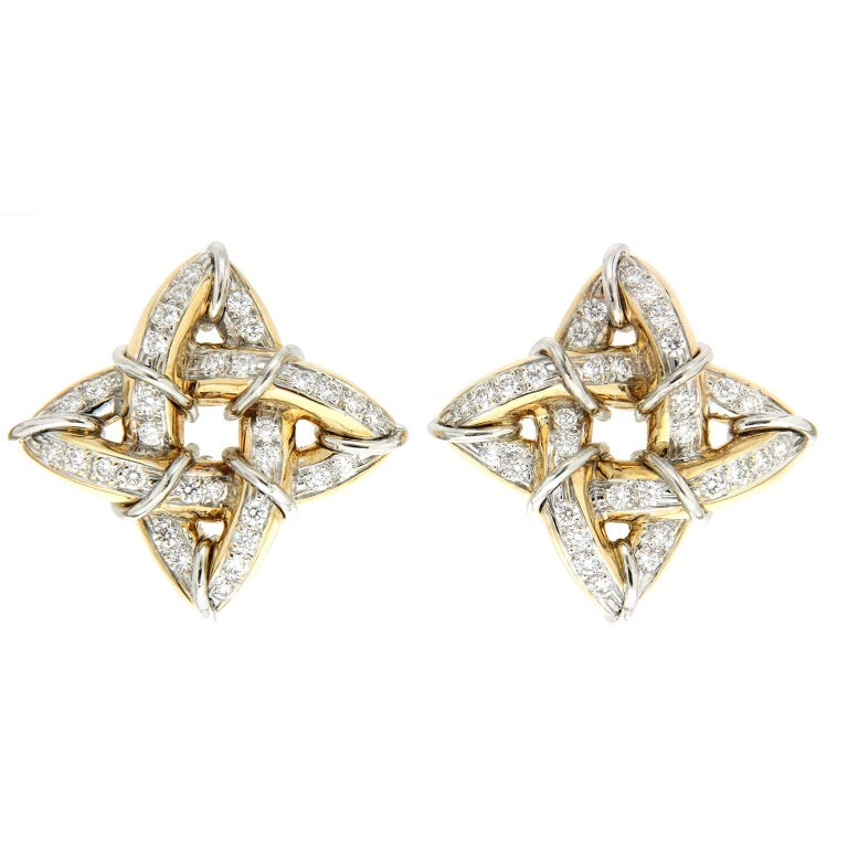 Valentin Magro Gothic Gold Earrings with Diamonds and Platinum Wire