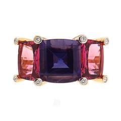 Colori Iolite Pink Tourmaline Diamond Gold Three Stone Ring