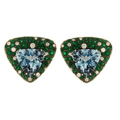 Valentin Magro Trillion Aquamarine, Emerald and Diamond Earrings