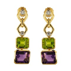 Valentin Magro Peridot, Amethyst and Diamond Gold Drop Earrings