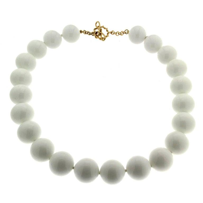 Valentin Magro White Agate Round Ball Necklace