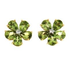 Valentin Magro Pear Shape Peridot Cluster Earrings