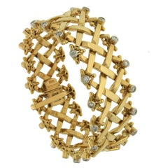 Valentin Magro Yellow Gold Woven Bracelet with Diamonds