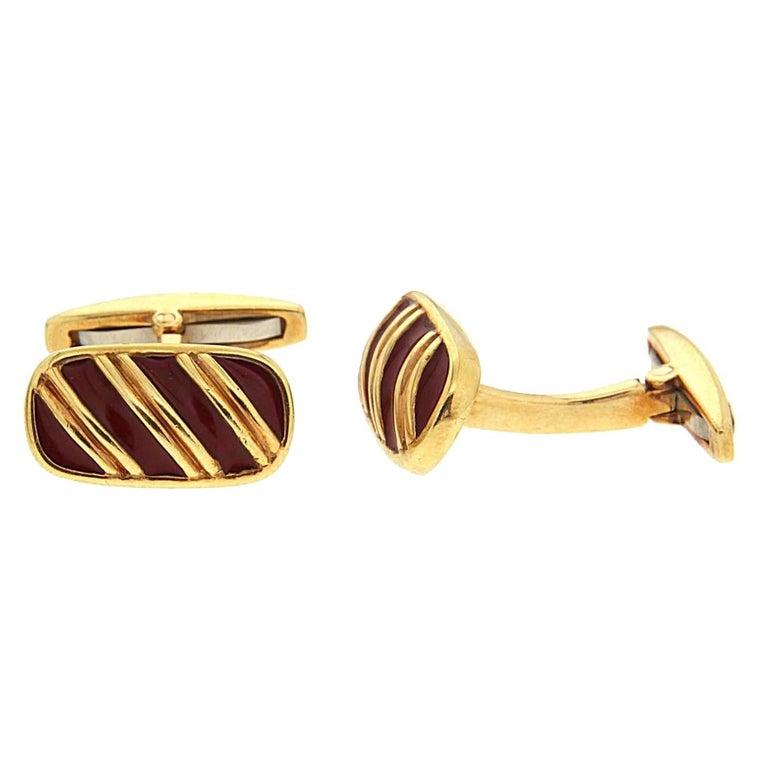 Valentin Magro Striped Dark Red Enamel and Gold Cufflinks