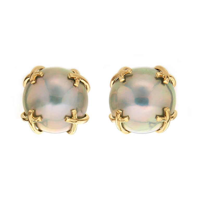 Valentin Magro Mabe Pearl Gold X Motif Earrings