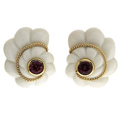 Pink Tourmaline Gold Cacholong Scalloped Shell Earrings