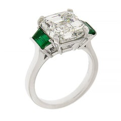 Valentin Magro 5.01 Carat Asscher Cut Diamond with Emerald Trapezoids Ring