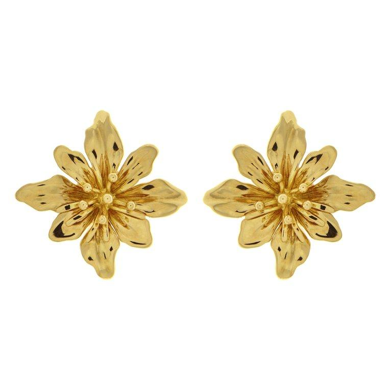 Valentin Magro Octopetal Flower Earrings in Gold