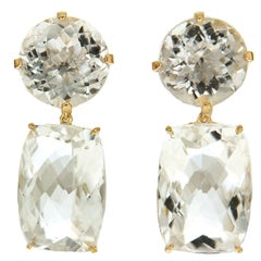 Round and Cushion White Topaz Drop Earrings