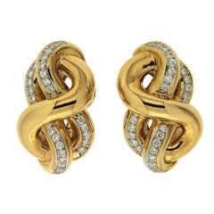Valentin Magro Hercules Knot Diamond Yellow Gold Earrings