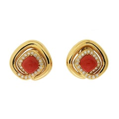 Valentin Magro Overlap Double Cushion Coral with Diamonds Gold Earrings