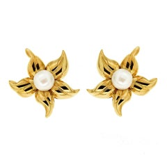 Valentin Magro Lilia's Flower Blossom Earrings with Pearl Center