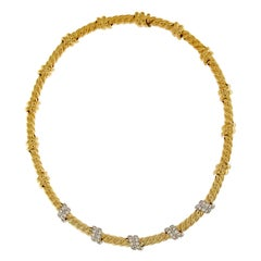 Valentin Magro Five Slanted Diamond Gold Necklace