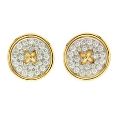 Pave Set of Diamond Button Earrings