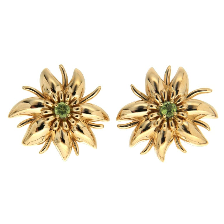Valentin Magro Gold Flower Petal Earrings with Peridots For Sale