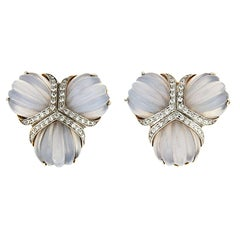 Valentin Magro Chalcedony and Diamonds Fan Earrings