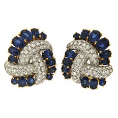 Triple Swirl Earrings with Sapphires and Diamonds