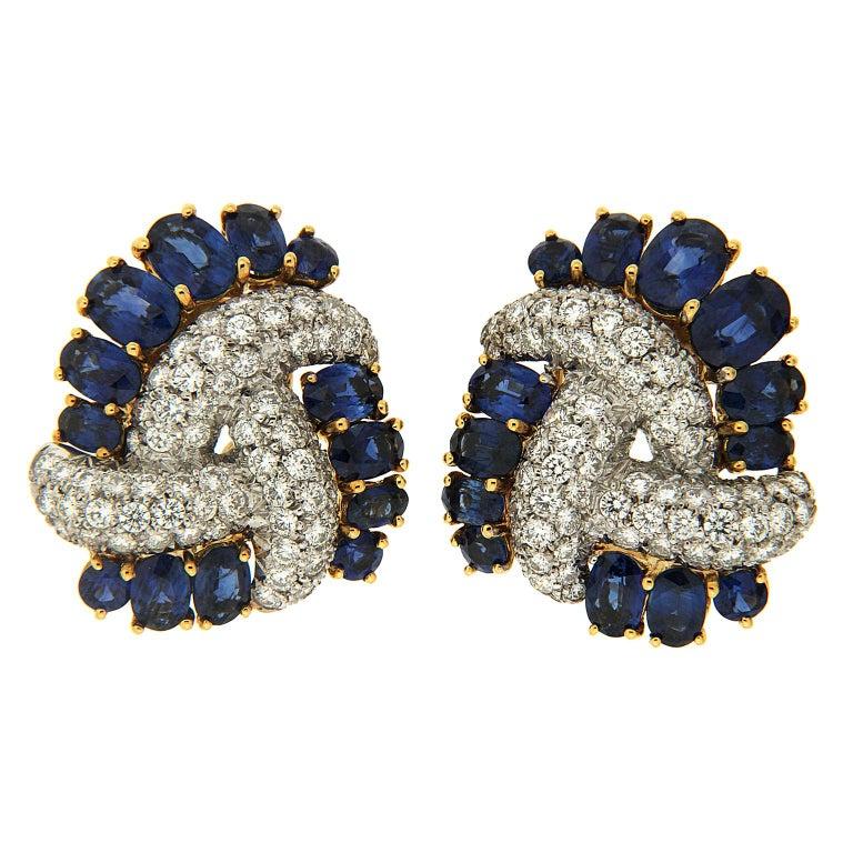 Triple Swirl Earrings with Sapphires and Diamonds