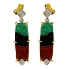 Valentin Magro Senoran Sunset Diamond Gold Post Earrings