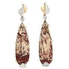 Alunite Diamond Gold Drop Earrings