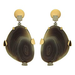 Valentin Magro Botswana Agate and Diamond Earrings in Yellow Gold