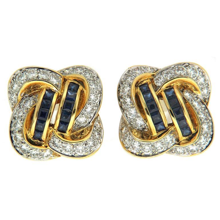 Valentin Magro Sapphire Diamond Gold Knot Earrings