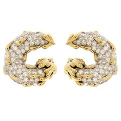 Circle and Tear Drop Diamond Gold Platinum Earrings