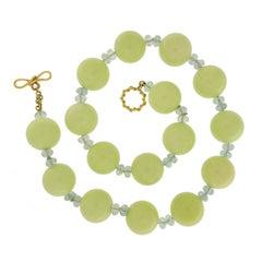 Valentin Magro Chrysoprase, Aquamarine Gold Necklace