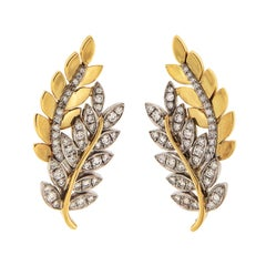 Valentin Magro Olympia Diamond Gold Leaf Motif Earrings
