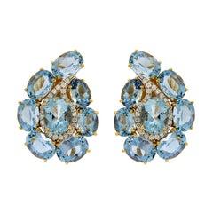 Valentin Magro Paisley Aquamarine and Diamond Earrings