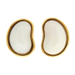 Valentin Magro White Coral Gold Bean Shaped Earrings