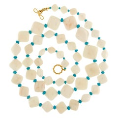 Valentin Magro White Coral Chicklets and Turquoise Necklace
