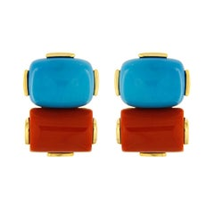 Valentin Magro Cushion Turquoise and Rectangular Red Coral Earrings
