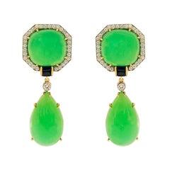 Valentin Magro Chrysophrase Sapphire and Diamond Earrings
