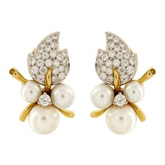 Pearl Diamond Leaf Earrings