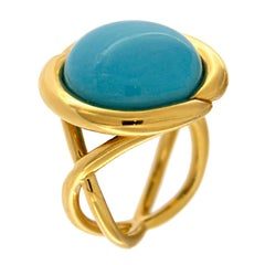 Round Turquoise Gold Ring