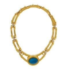 Valentin Magro Double Line Diamond and Turquoise Necklace