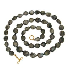 Valentin Magro Tahitian Keshi Pearl Necklace with Medium Ring and Toggle