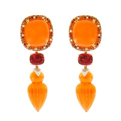 Valentin Magro Fire Opal, Sapphire, and Rubellite Tourmaline Earrings