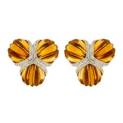 Citrine and Diamonds Fan Earrings in White Gold